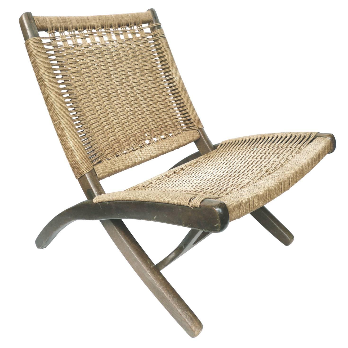 Mid Century Folding Rope Chair in the Style of Hans Wegner For