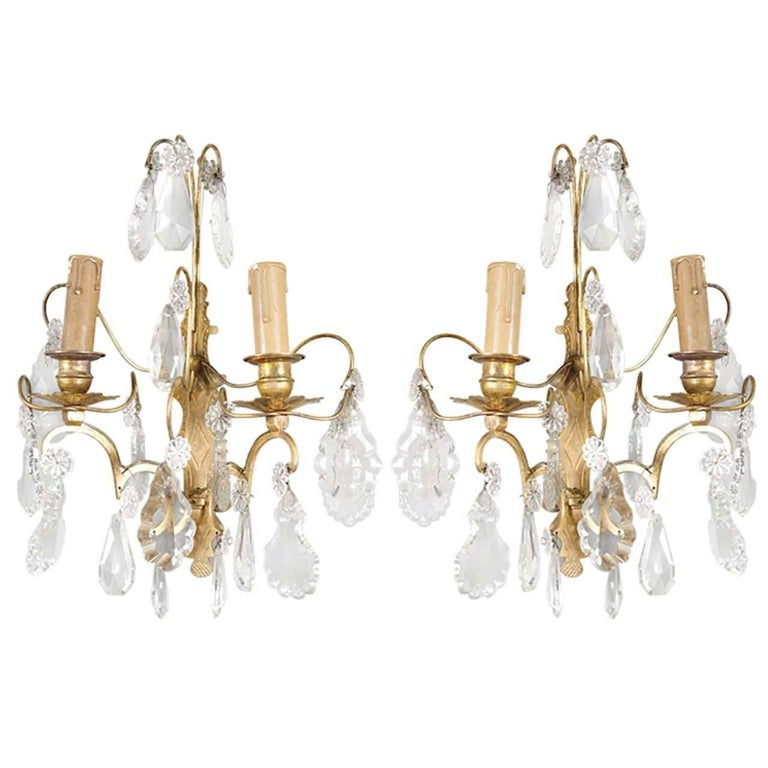 Classic French Crystal Sconces, Pair For Sale
