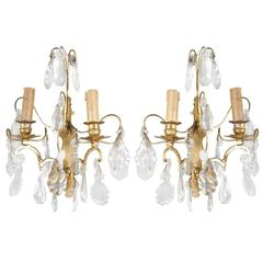 Classic French Crystal Sconces, Pair