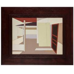 Mid-Century Architectural Painting by Martha P. O'Brian
