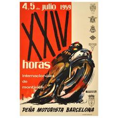 Original 1959 Motorcycle Race Poster, XXIV Horas Internacionales De Montjuic