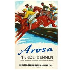 Original Vintage Steeplechase Horse Race Poster for the 1963 Arosa Pferde-Rennen