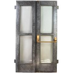 Vintage Industrial Double Door Set with Chicken Wire Glass and Brass Hardware