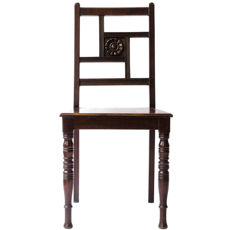 Anglo-Japanese Walnut Chair With Carved Sunflower Attributed to Bruce Talbert