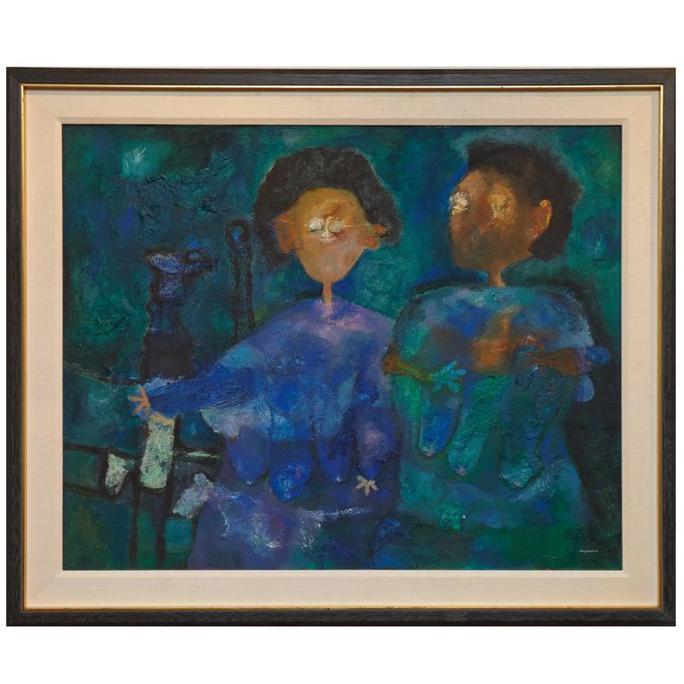 "Felipe Orlando, Oil Painting, ""Two Woman"""