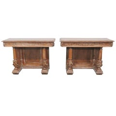 Pair of French Style Distressed Painted Consoles