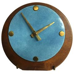Beautiful Mid-Century Brass Wood and Enameled Steel Clock
