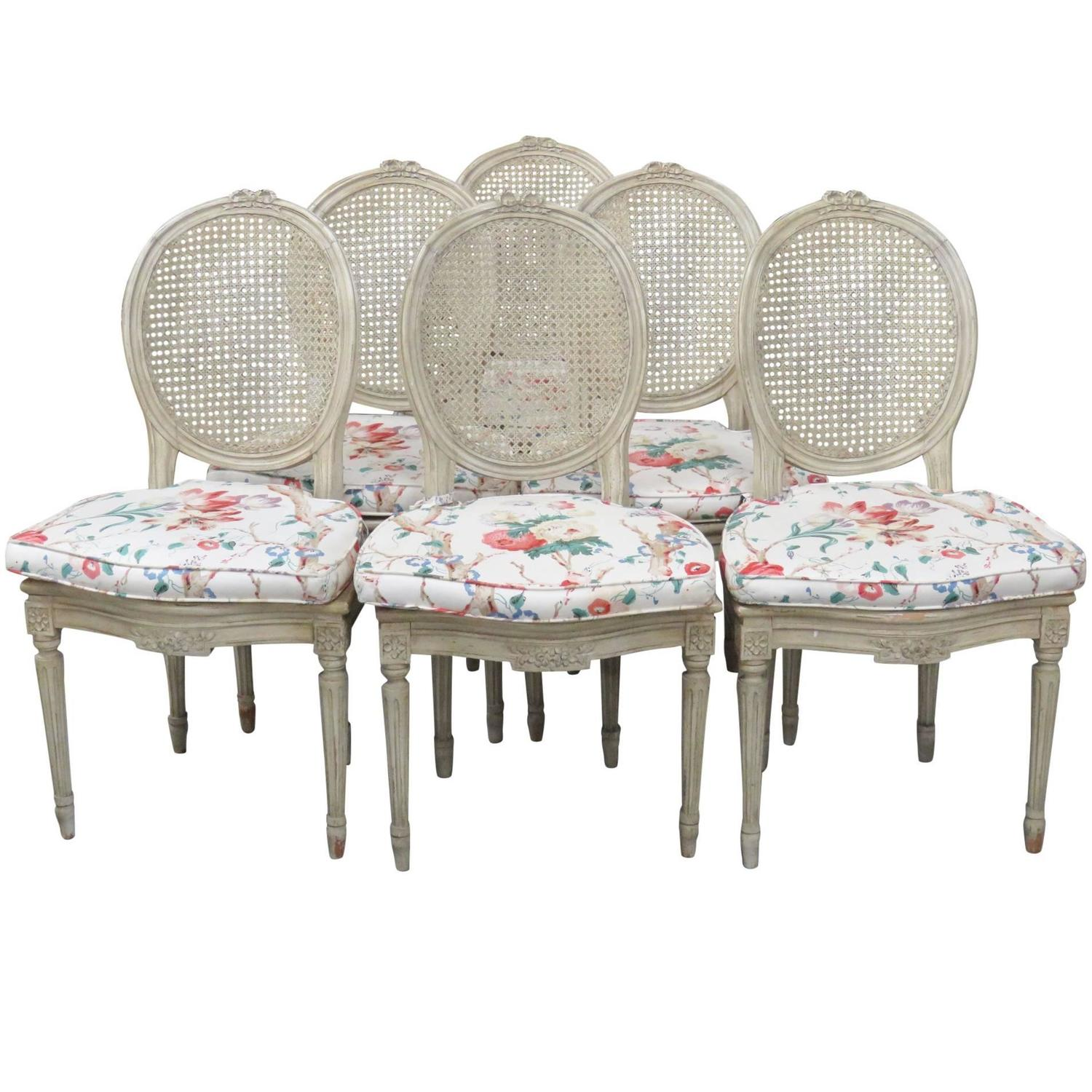 Six jansen louis xvi style distressed cream painted caned for Cream dining room chairs sale