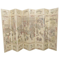 Asian Style Chinoiserie Decorated Eight Paneled Screen