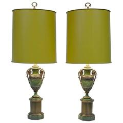 Pair of Paul Hanson Faux Malachite Table Lamps with Original Shades and Finials