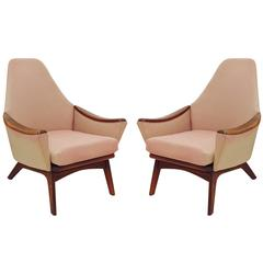 Pair of High Back Lounge Chairs by Adrian Pearsall for Craft Associates
