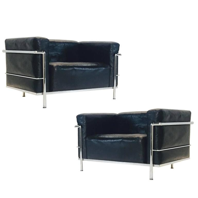 Pair Of LC 3 Grand Comfort Lounge Chairs By Le Corbusier For Cassina For  Sale