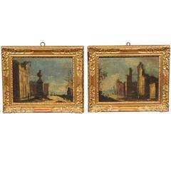 Pair of Mid-18th Century Italian Framed Oil on Canvas Landscape Paintings