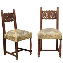 Pair of Upholstered Oak Chairs