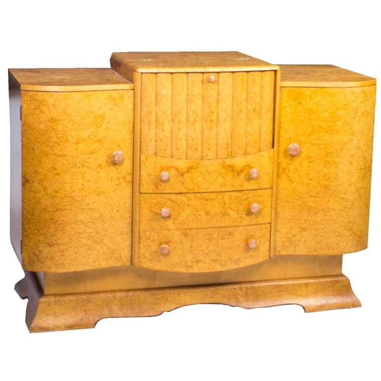 1930s Art Deco Birdseye Maple Cocktail Sideboard For Sale