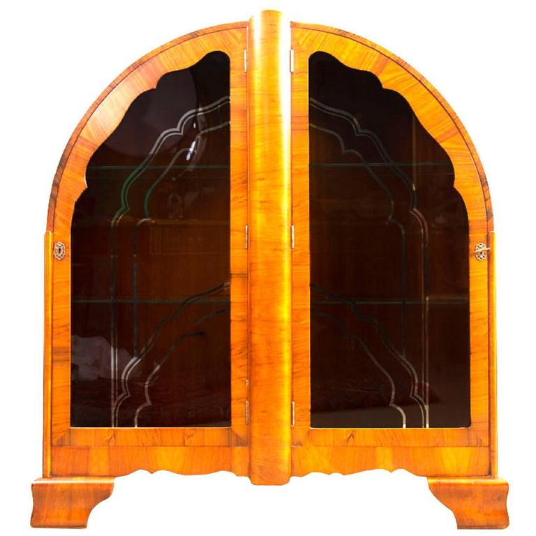 1920s Art Deco Walnut Display Cabinet or Bookcase