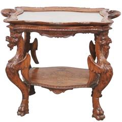 Italian Carved Walnut Tray Top Table