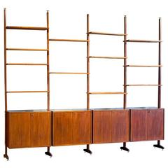 Danish Teak Mid-Century Art Deco Display Wall Unit