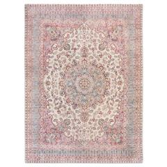 'Persian Palace_003' Kerman Rug  Oversized, Ivory Ground, toned down Colours