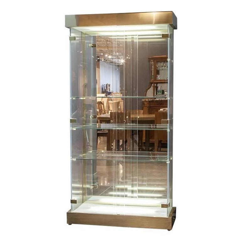Lucite And Glass Mid Century Modern Curio Cabinet For Sale