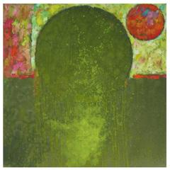 Gyorgy Kepes Untitled Abstract in Green Oil on Canvas