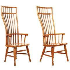 Tall-Back American Wood Armchairs