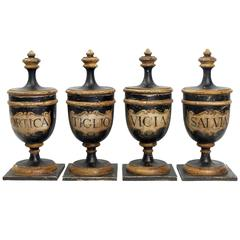 Beautiful, Rare Set of Four Apothecary Wooden Jars in Purest Neoclassical Style