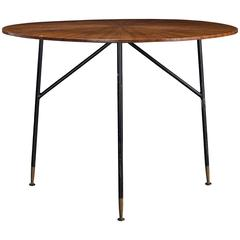 Sunburst Wood and Metal Centre Table, circa 1960