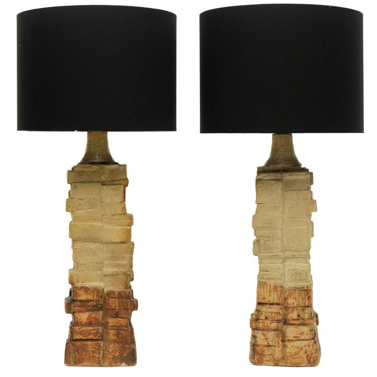 Pair of 1960s Bernard Rooke Sculptural Pottery Table Lamps Ceramic