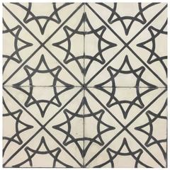 Stella Star Black and White Cement Tiles Haskell