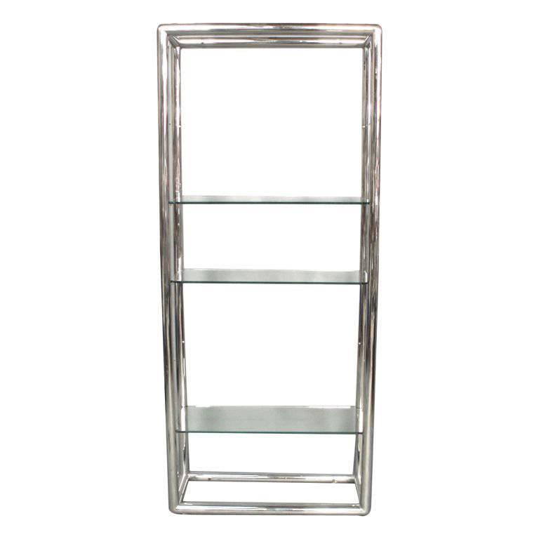 Glass and Polished Stainless Steel Shelf Unit Style of Milo Baughman