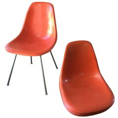 Six Charles Eames for Herman Miller Fiberglass Dining Chairs in Orange