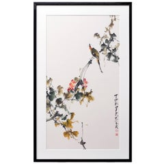 Chinese Watercolor 'Bird on Flower' by Zhao Shao Ang
