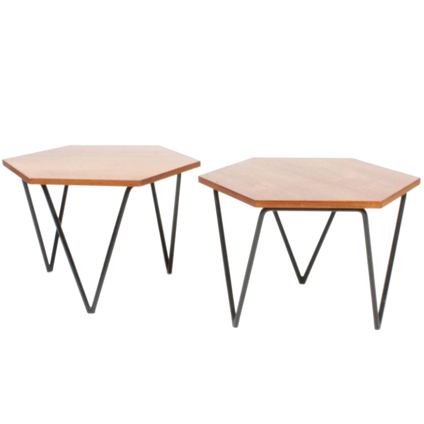 Pair of Elegant Side Tables by Gio Ponti Isa Edition 1950s For