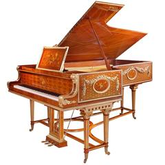 New German Luxury Grand Piano with 24-Carat Gold Platings Pure Shellack Finish
