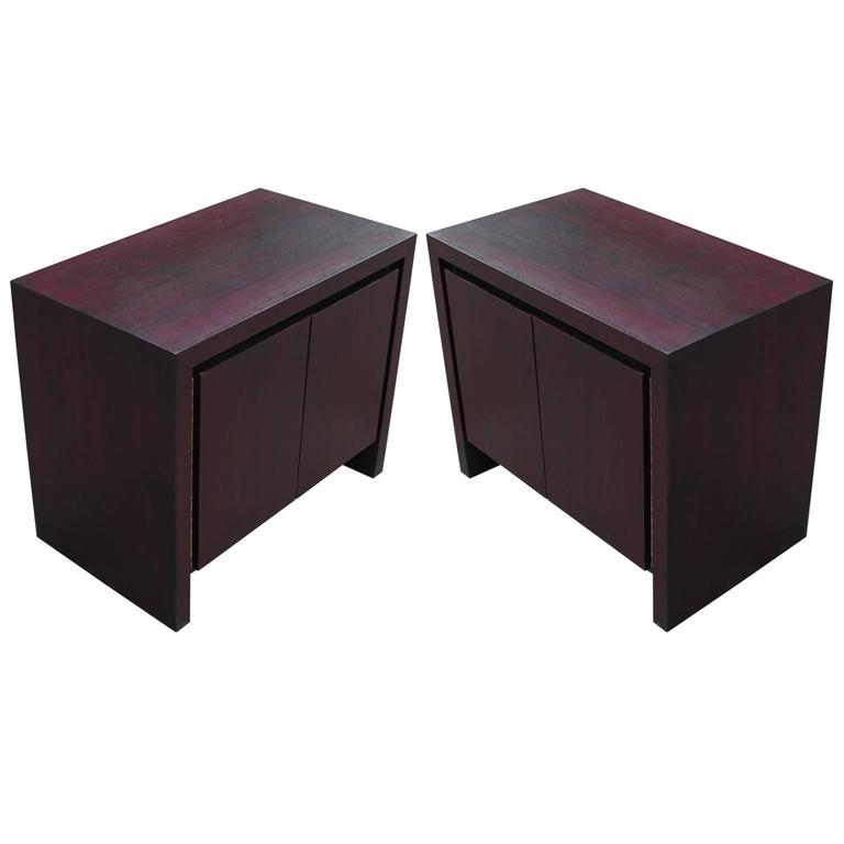 Pair of Clean Lined Modern Vintage Purple Stained Chests / Nightstands