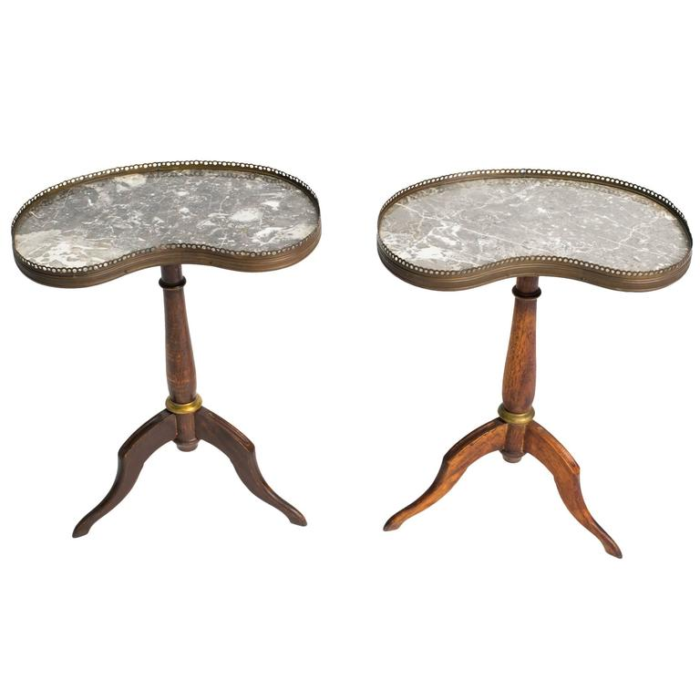 Pair of French Kidney-Shaped Marble-Top Side Tables with Brass Gallery