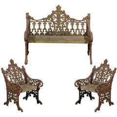 English Iron Garden Bench and Two Chairs