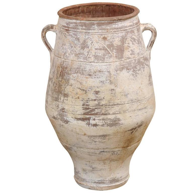 Mid-Century White Greek Terracotta Pot For Sale At 1stdibs