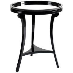 Pair of European Modern Boca Do Lobo Black Lacquer, Mirror Top Side Tables
