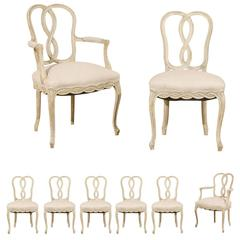 Set of Eight Italian Venetian Style Painted Wood Chairs with Ribbon Motifs