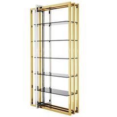 Caprio Bookshelves in Gold Finish Stainless Steel and Smoke Glass