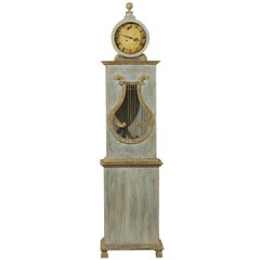 Swedish Clock with Lyre Shaped Motif, Nicely Aged Face and Round Finial