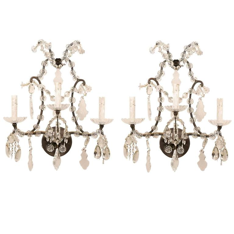 Pair of Italian Crystal Vintage Three-Light Sconces with Scrolled Armature For Sale
