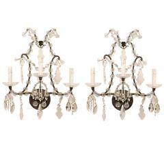 Pair of Italian Crystal Vintage Three-Light Sconces with Scrolled Armature