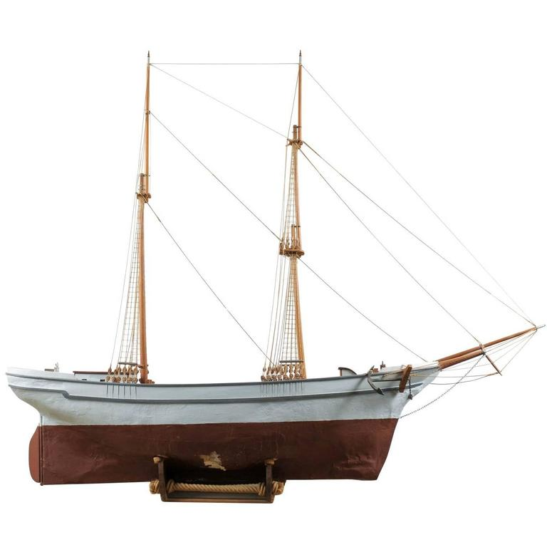 Swedish Ship Model On Stand With Two Masts Wooden Ketch Or Brigantine Layout