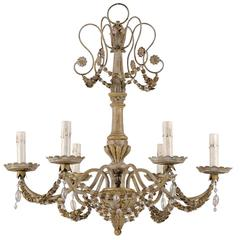 French Wood, Iron and Crystal Six-Light Chandelier with Swag Surround