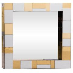 Paul Evans Chrome and Brass Square Mirror