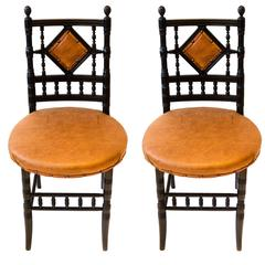 Pair of Arts and Crafts Ebonized Side Chairs by Collinson and Lock