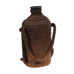 16th-17th Century European Rope Wrapped Green Glass Bottle